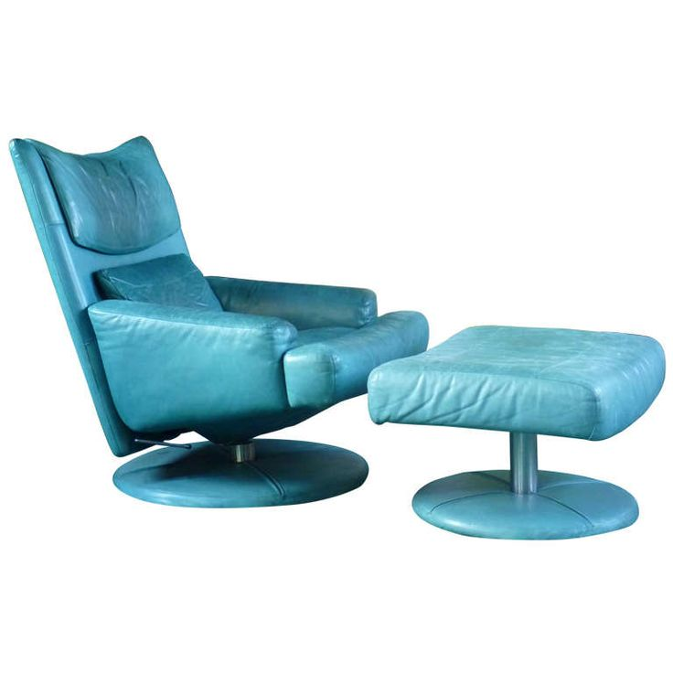 1980u0027s Turquoise Rolf Benz Reclining Chair