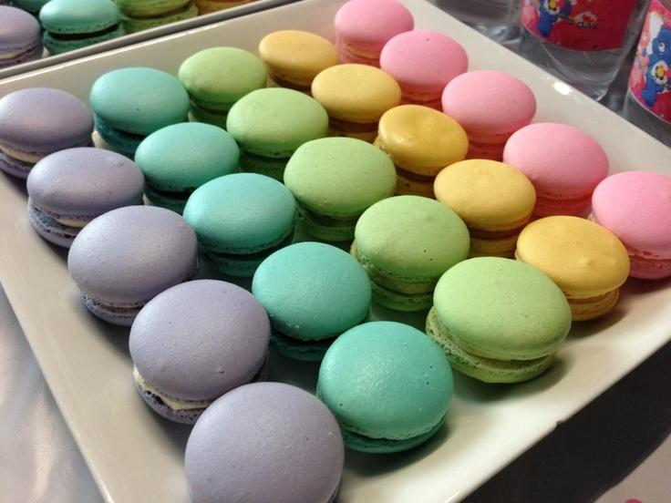 rainbow macarons for care bear birthday party