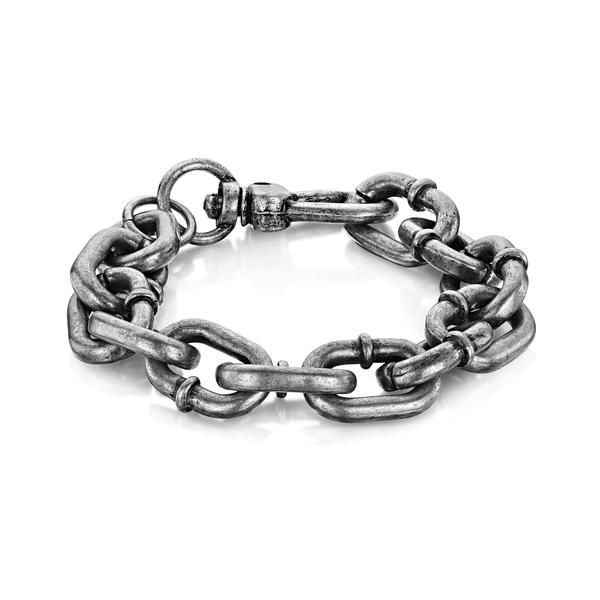 BLACK STEEL × BILLY HUXLEY ~ Oxidised Gunmetal Anchor Chain Bracelet