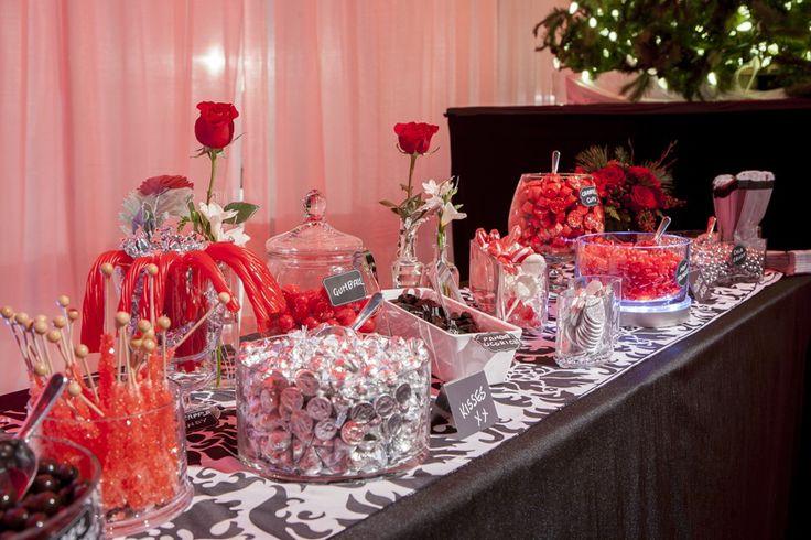 Festive red candy bar, event candy bar