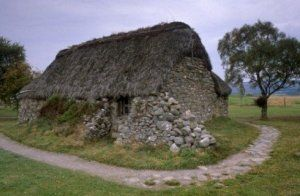 Leanach Cottage, Culloden Moor battlefield, near Inverness, Scotland. This cottage is said to date from the time of the Battle of Culloden.