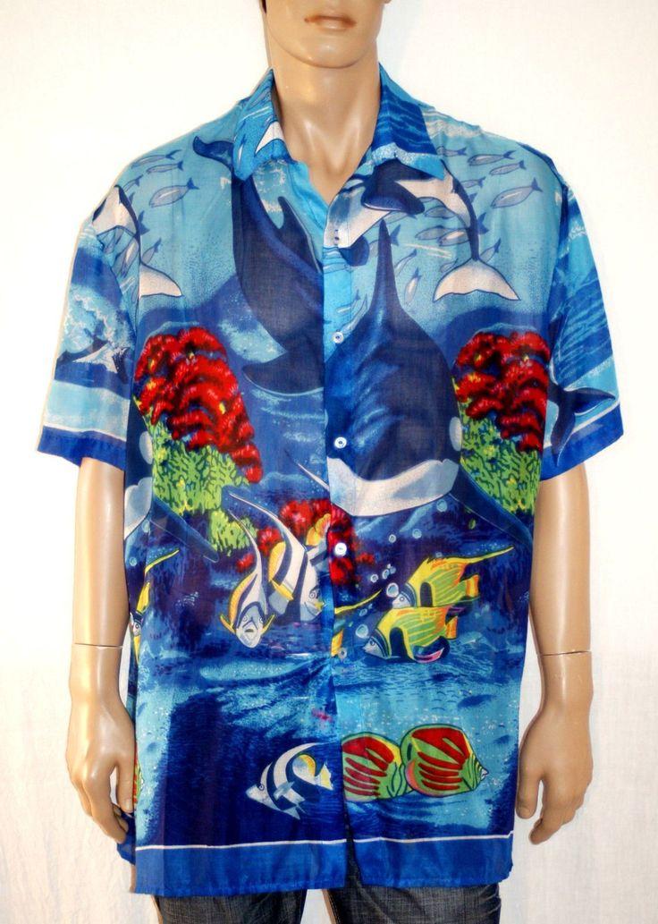 Hawaiian Summer!! Extra Light Cotton Man Shirt Camicia Tunica Uomo Donna Fantasia Tropicale Hawaiiano Mare Cotone Maniche Corte Taglia XXL di BeHappieWorld su Etsy