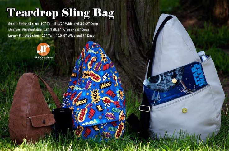 RLR Creations : The Teardrop Sling Bag- 3 sizes included