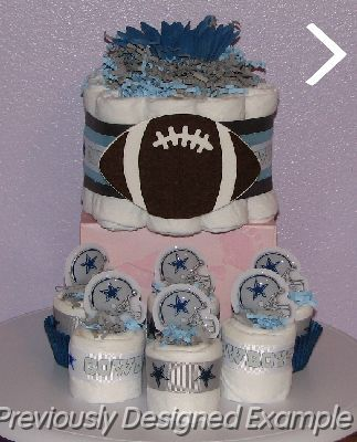 Diaper Cupcakes   Table Centerpieces/dallas Cowboy Favors Is My Unique  Creation That Is A Perfect Shower Gift Idea Or Centerpiece!