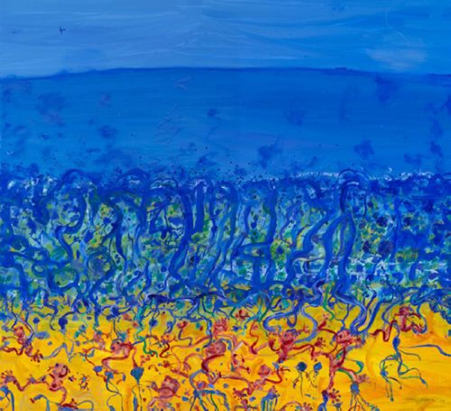 John Olsen - 'Childhood by the Sea - the Blue Bottles Arrive'