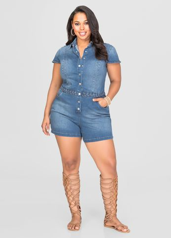 Braided Waist Jean Romper Braided Waist Jean Romper Women Big Size Clothes - http://amzn.to/2ix7dK5