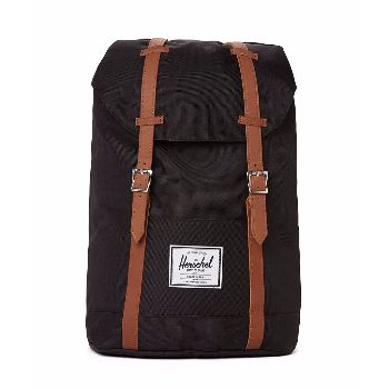 Black Retreat Backpack: The Retreat range is like a shrunken version of Herschel's Little America range. It's given a reinforced bottom, laptop sleeve and contoured shoulder straps for added comfort. Fully lined with signature coated cotton-poly fabric. Magnetic strap closure. Up to 15'' laptop sleeve. Reinforced bottom. External sleeve pocket.