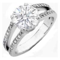 Engagement Ring - Round Diamond Pave Split Shank Engagement Ring 0.36 tcw. In 14K White Gold Like Princess Zara Phillips