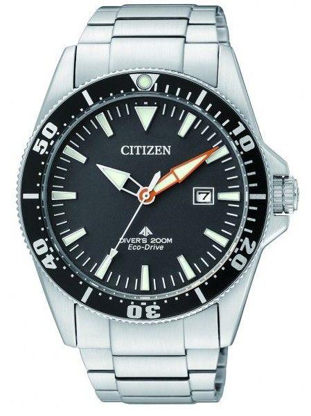 Montre Citizen eco-drive pour homme, modèle de plongée professionnel, résistance à l'eau 200 mètres, lunette rotative et bracelet acier.