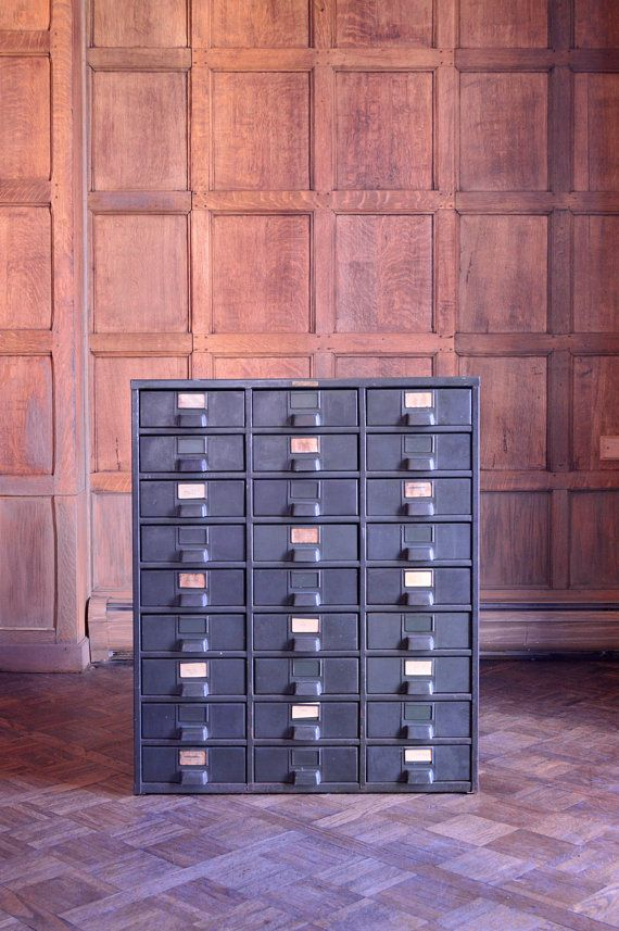 Industrial Storage Cabinet, Vintage Metal Hobart Parts Cabinet, 27 Drawer,  Industrial Decor