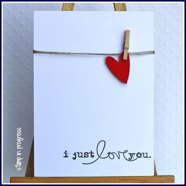 So simple and yet so clear.  I love the tiny clothespin holding a heart on a simple string of twine.  DIY Valentine Card