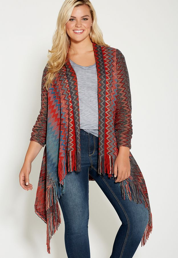 Plus Size Chevron Striped Blanket Cardigan With Fringe