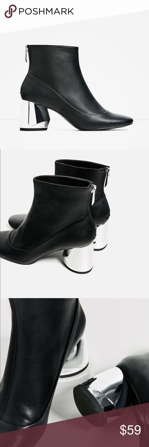 Zara 2017 chrome metallic heel booties 2017 , super trendy, chrome finished block heel Zara Shoes Ankle Boots & Booties