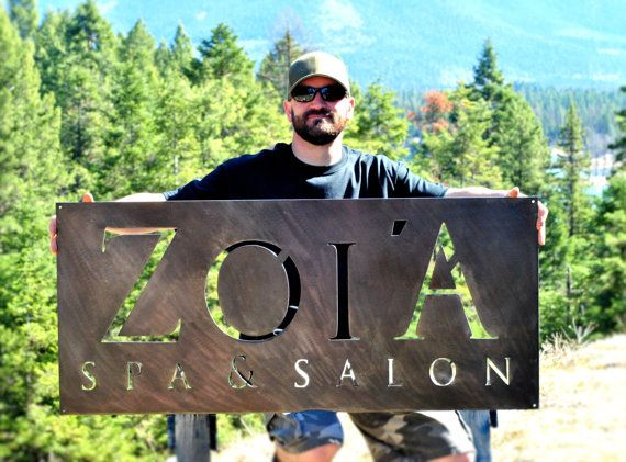 This listing is for a custom plasma cut steel sign. Send a high-resolution image of your logo to info@grizzlycustomsteel.com and Ill translate