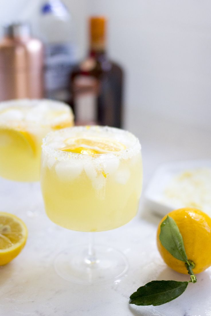 Meyer Lemon Margaritas with a lemon sugar and salt rim!