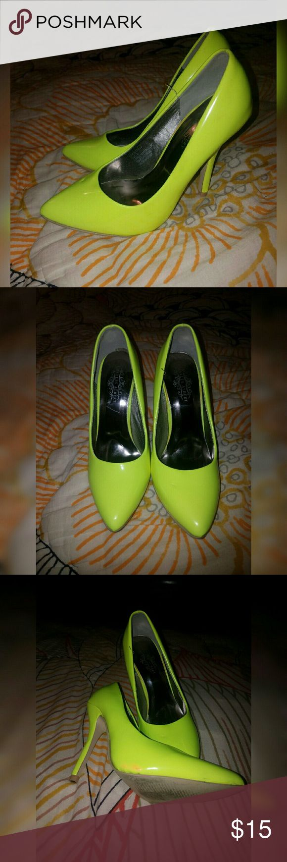 Charles Albert Neon Yellow Pump Neon yellow pumps, worn a few times has some scuff marks and red stain on the side. Charles Albert  Shoes Heels