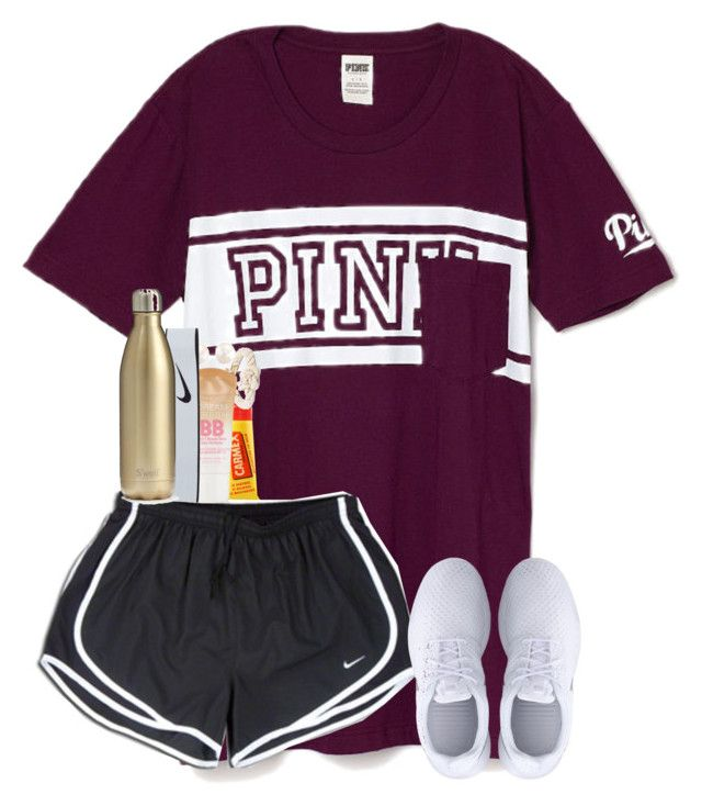 """""""amber!"""" by shannaolo ❤ liked on Polyvore featuring Carmex, NIKE, Maybelline, S'well, women's clothing, women, female, woman, misses and juniors"""