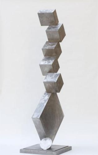 David Smith - Cubi I, 1963. The Cubi series is a group of stainless steel sculptures built from cubes, rectangular solids and cylinders with spheroidal or flat endcaps. These pieces are among the last works completed by the sculptor David Smith who died in a car accident on May 23, 1965. he Cubis are among Smith's final experiments in his progression toward a more simplified, abstract form of expression.