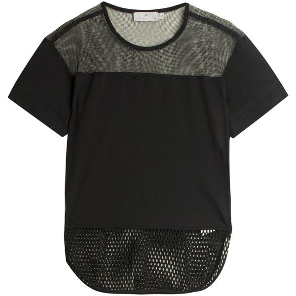 STELLA McCARTNEY FOR ADIDAS Mesh T-shirt found on Polyvore featuring tops, t-shirts, adidas tops, mini top, adidas tee, black mesh t shirt and black mesh top