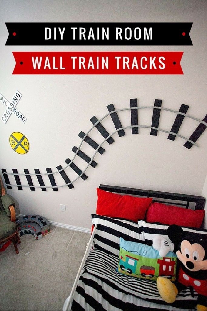 So cute and easy enough tutorial for your little train lover's room! Train Room DIY Wall Train Tracks http://www.babymakingmachine.com/2016/02/train-room-diy-wall-train-tracks.html?utm_campaign=coschedule&utm_source=pinterest&utm_medium=Jennifer%20Borget%20%7C%20Baby%20Making%20Machine&utm_content=Train%20Room%20DIY%20Wall%20Train%20Tracks