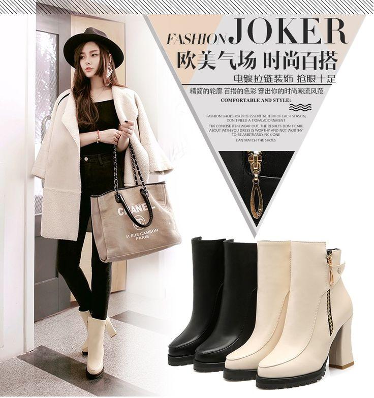 Плюс размер 34 45 ботинки женщин сексуальные высокие каблуки осень весна ботинки женщин кожа короткие сапоги платформа бежевый черный ботильоны каблуки купить на AliExpress