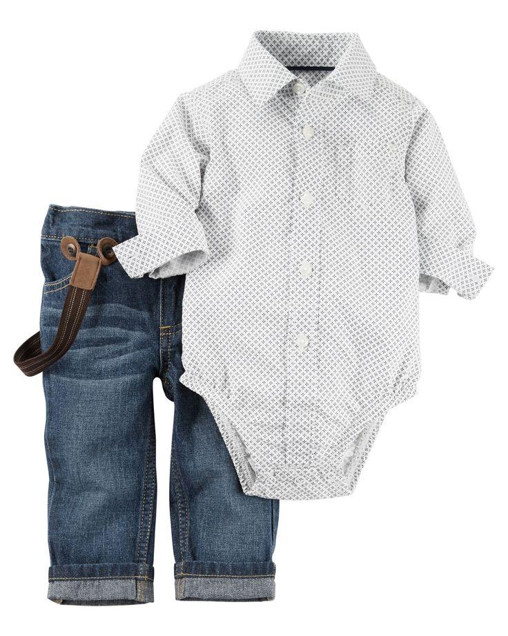 Ensemble 2 pièces jean et cache-couche pour bébés garçons | Carter's OshKosh Canada