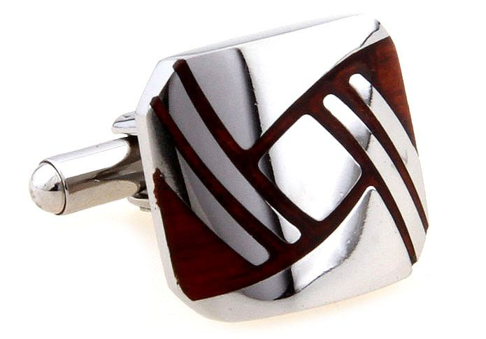 These premium cufflinks feature a simple geometric design. Predominantly stainless steel and featuring polished rosewood accents, these cufflinks will suit even the classiest individual. Understated and elegant, these cufflinks are equally comfortable in the boardroom, the ballroom or the bar.