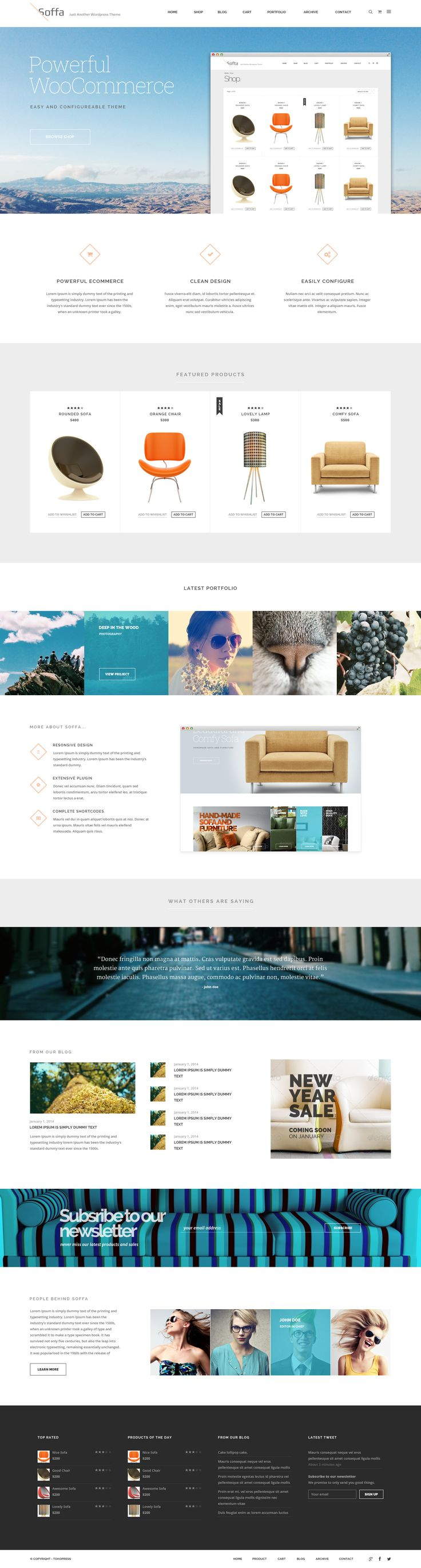 Soffa MultiPurpose PSD Package consistes of 20 PSD files with clean design, ecommerce ready, and organized layer. #webdesign
