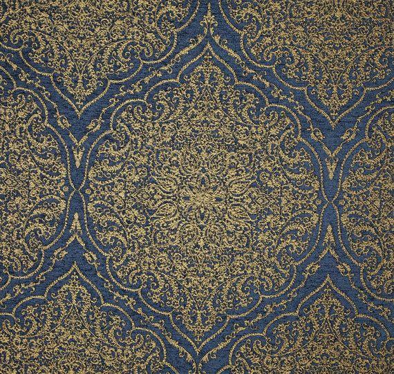 Vintage blue metallic gold medallion decorative pillow cover