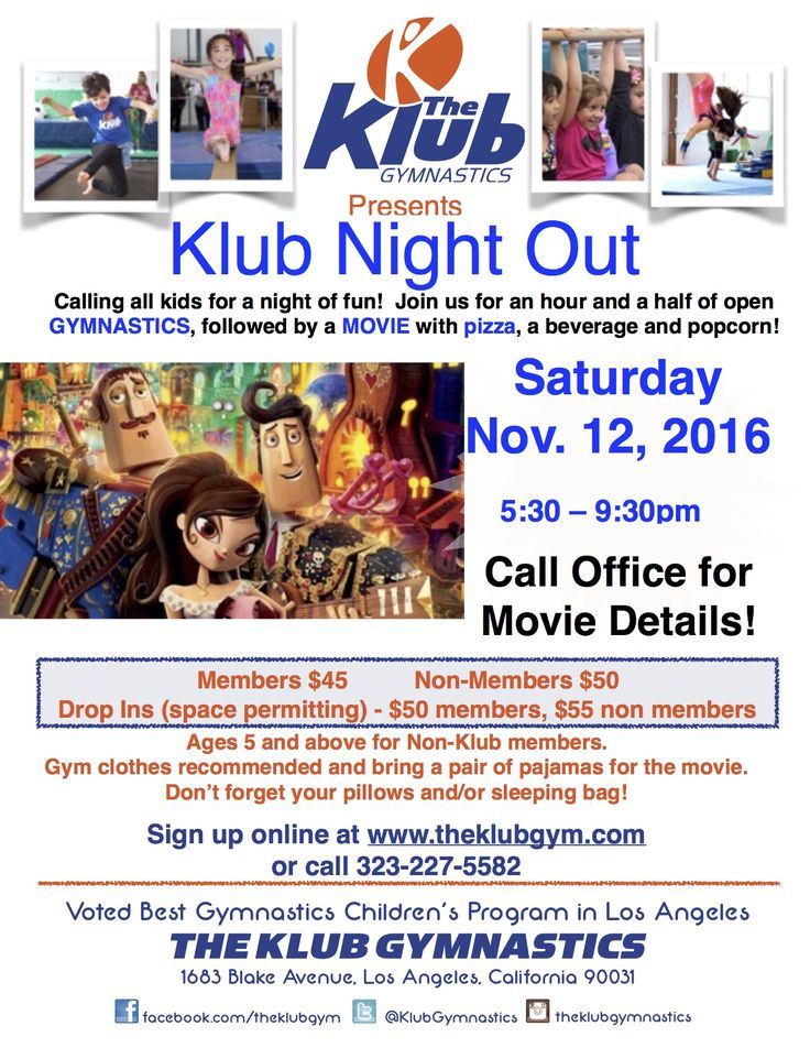 Parents - need a night off? Kids - need a night out ?! Come on down to our next Klub Night Out ! Join the fun at: http://www.gymnasticslosangeles.com/klub_night_out.html #TheKlubGymnastics  #klubgymnastics #frogtown #nela #losfeliz #silverlake #echopark #atwater #atwatervillage #losangeles #kidsgymnastics #gymnastics #childrensgymnastics #hollywood #theklubgym #klubgym #theklub