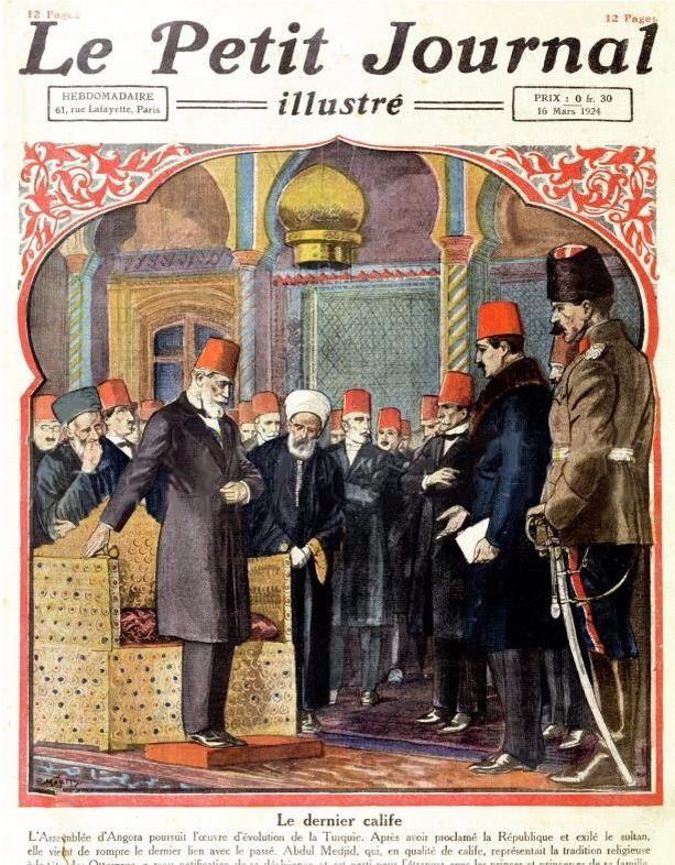 """Le Petit Journal 1924  صحيفة """"لو بوتيت"""" الفرنسية تنشر بتاريخ 16 مارس 1924 صورة حين استقبل الخليفة عبد الحميد الثاني قرار الغاء الخلافة"""