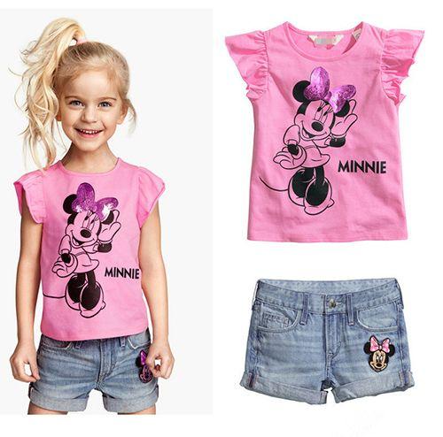 2015 nuevo verano caliente chicas del niño del bebé ropa de color rosa de impresión manga