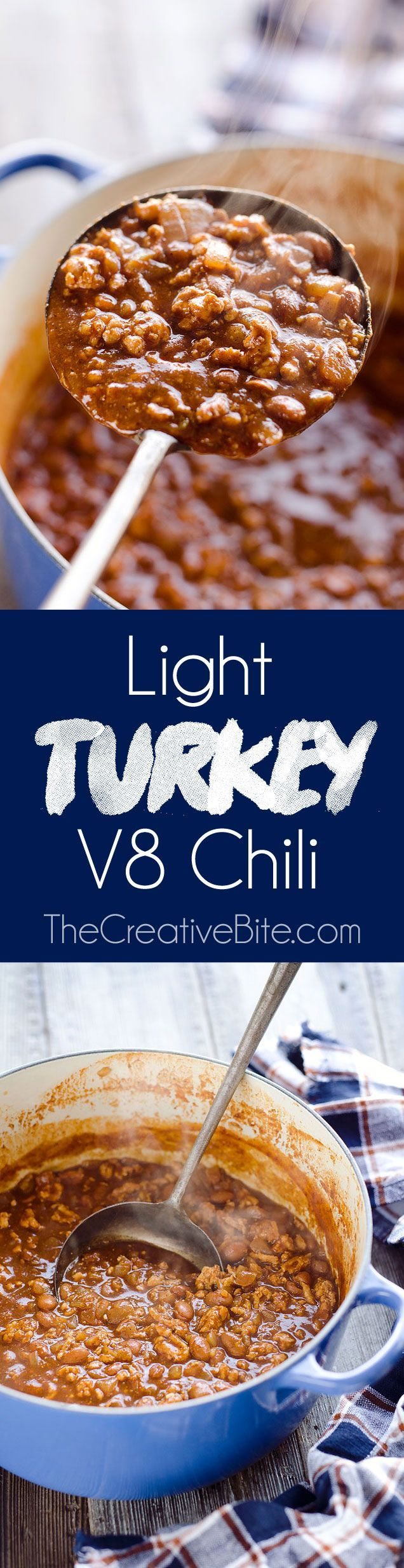 Light Turkey V8 Chili is an easy and healthy 20 minute weeknight dinner idea with only 6 ingredients and a whole lot of flavor. This dish is loaded with nutrition from V8 juice, lean ground turkey and beans for a hearty meal the whole family will love. An added bonus - the leftovers are freezer friendly! #FreezerFriendly #Turkey #Soup