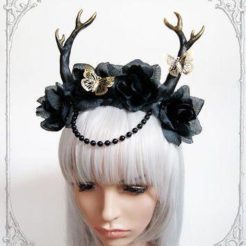 Golden Deer Headdress ( antlers, goth,  fantasy, steampunk, costume, fairy, roses, fascinator, vegan )