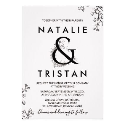 Floral Ampersand Wedding Card - romantic wedding love couple marriage wedding preparations