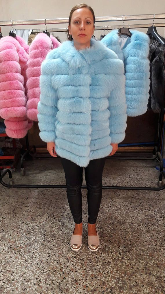 REAL bLUE fOX fUR JACKET / COAT see pictures for a variety of
