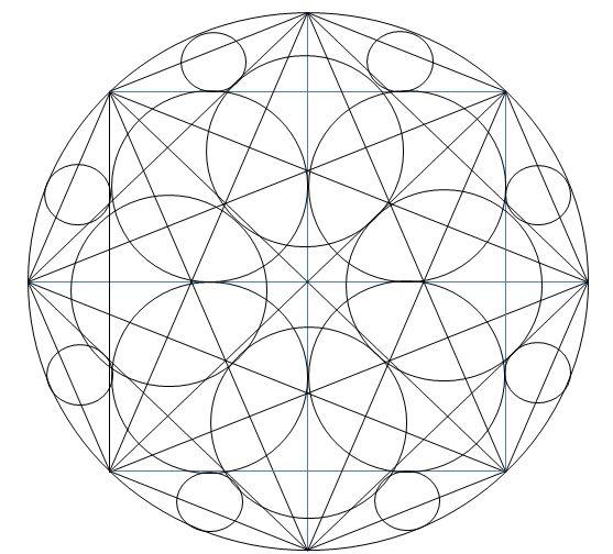 Pinta este mandala de dibujos geométricos. ¿Cuántos círculos encuentras? ¿Cuántos cuadrados?