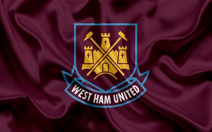 Download wallpapers West Ham United FC, Football Club, Premier League, football, London, UK, England, flag, emblem, West Ham United logo, English football club
