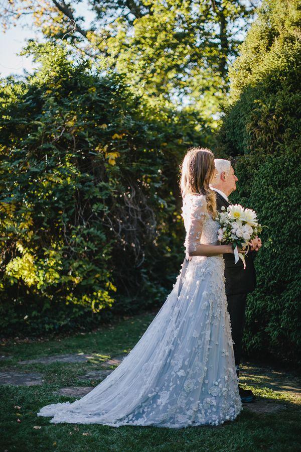 Bride wearing Monique Lhuillier
