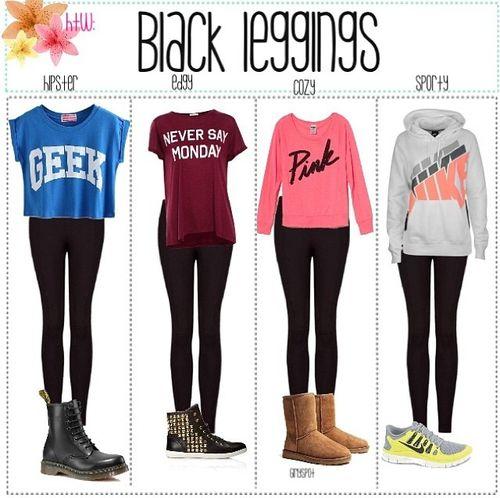 how to wear black leggings in fall