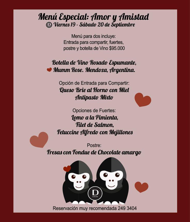 Menú especial, Amor y Amistad en #SuTerceraCasa #Amor #Menú #Restaurante #Bogota