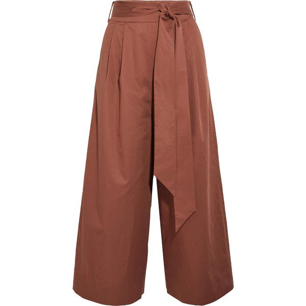 Tibi Cotton-poplin culottes (€470) ❤ liked on Polyvore featuring pants, capris, high-waist trousers, brown high waisted pants, high-waisted pants, high rise trousers and tibi