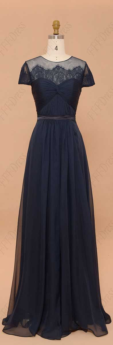 Navy blue modest bridesmaid dresses with sleeves prom dresses plus size