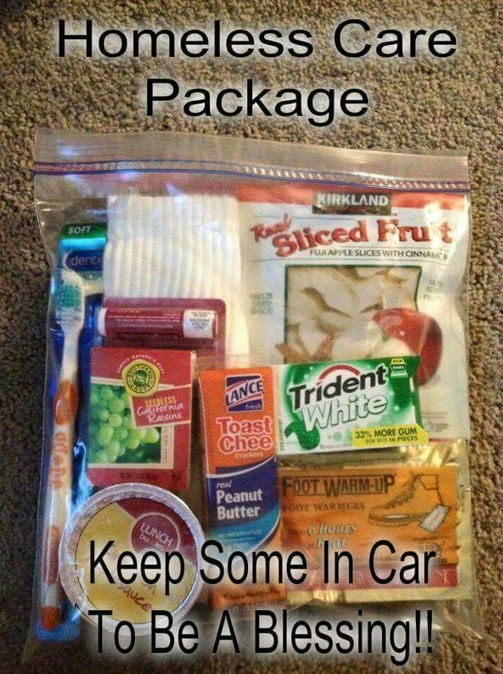 Homeless care packages to give away.
