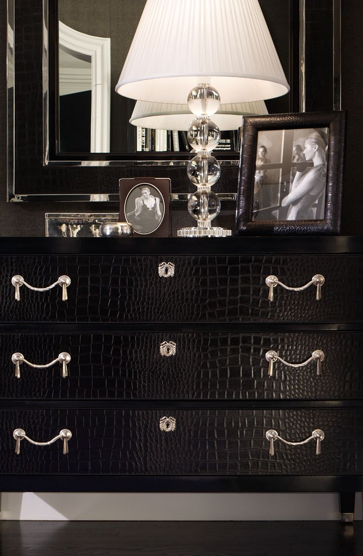 Each Brook Street chest is built by hand, lacquered in a six-step hand-applied finishing process and then carefully fitted with crocodile embossed black leather