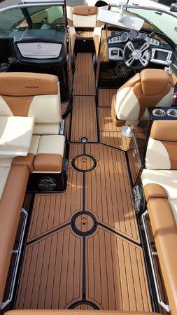 make your boat pop! #aquamarinedeck #mastercraft #brownteak #nonskid #marineflooring