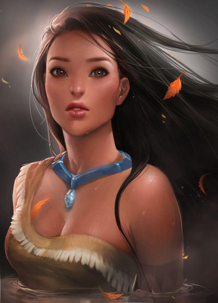 Pocahontas by sakimichan on DetiantART - Beautiful art work!: Disney Movies, Disneyart, Disney Fans Art, Disney Animal, Disney Princesses, Pocahontas, Digital Art, Disney Art, Digital Illustrations