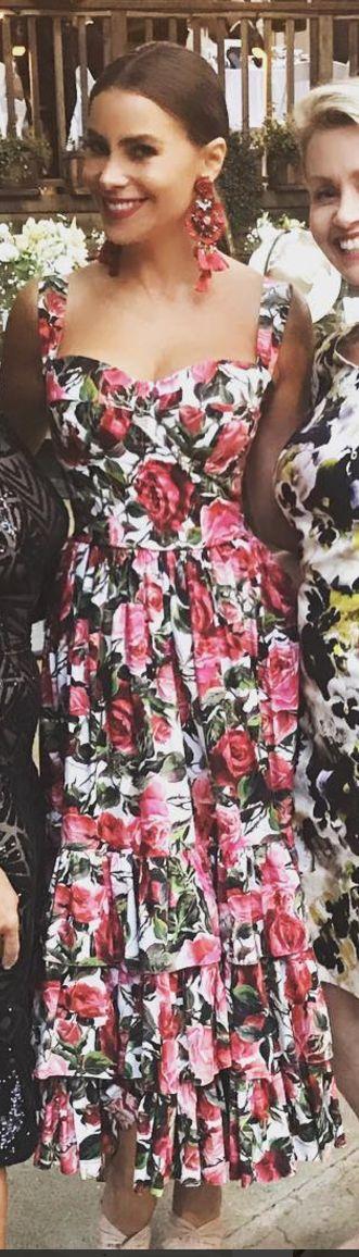 Who made Sofía Vergara's rose print dress?