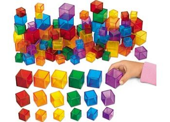 Size and Colour Cubes. These coloured blocks are perfect for sorting, stacking, counting and comparing. Try adding these colourful, plastic blocks to a light table.