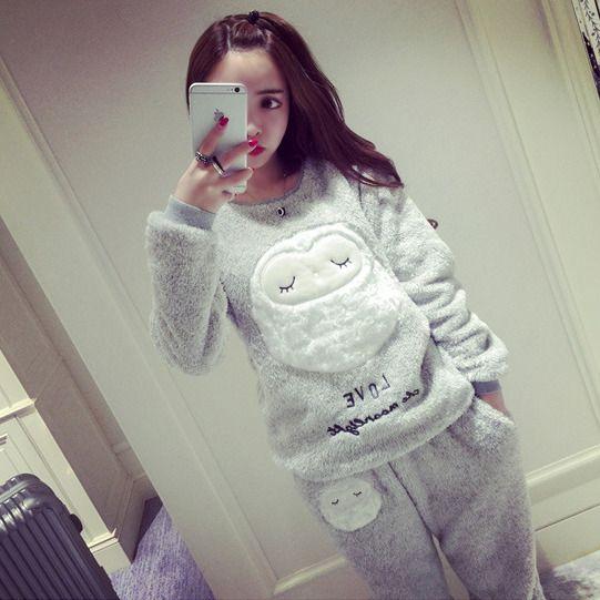 Женщин Пижамы 2016 коралловый флис пижамы женщин большие размеры утолщение овец одежды для отдыха костюм пункт теплый фланель pijamas mujer